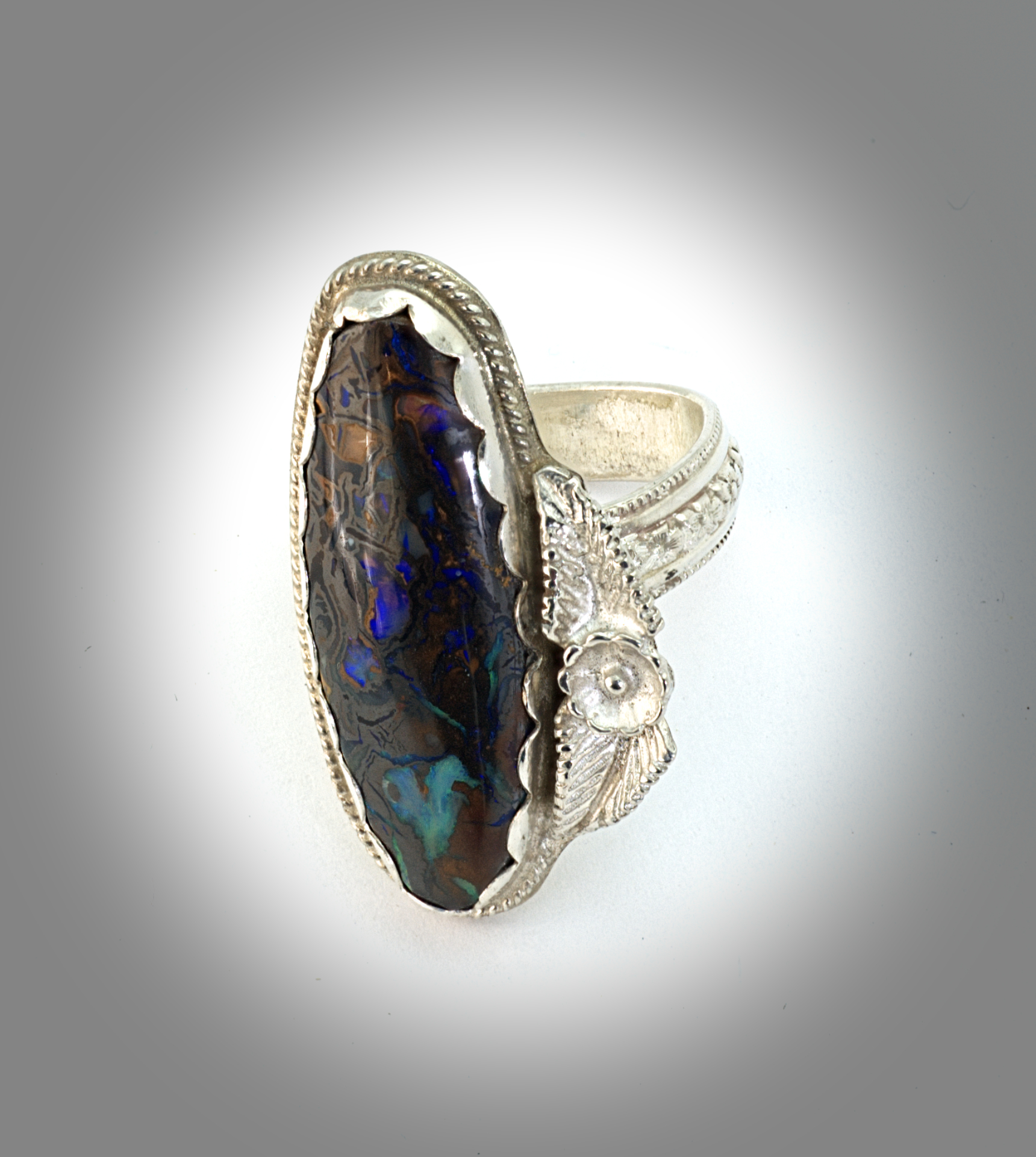 black ridge engagement ring boulder opal caymancode diamond and lightning rings